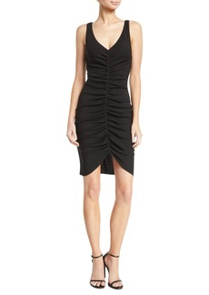 Armani Deep-V Sleeveless Ruched Short Dress