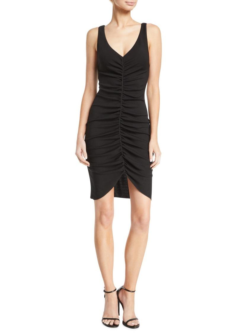 Armani Deep-V Sleeveless Ruched Short Dress