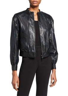 Armani Diagonal Leather Bomber