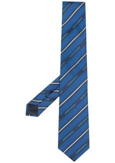Armani diagonal logo stripe pattern tie