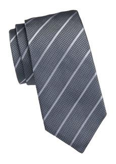 Armani Diagonal Stripe Grid Jacquard Silk Tie