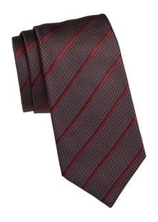 Armani Diagonal Stripe Grid Silk Tie