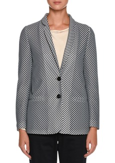 Armani Diagonal-Stripe Jersey Jacquard Two-Button Jacket