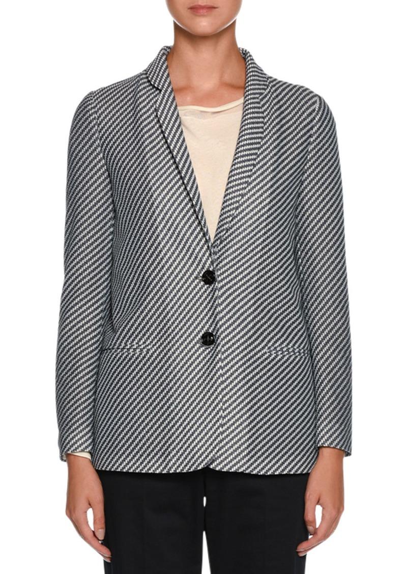 Armani Diagonal-Stripe Jersey Jacquard Two-Button Jacket