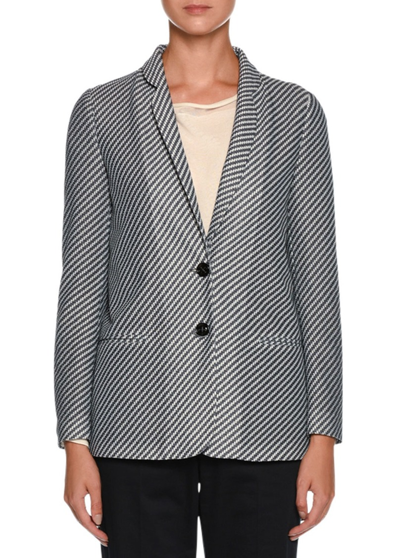 c40b9a95656 Armani Diagonal-Stripe Jersey Jacquard Two-Button Jacket