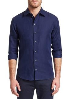 Armani Diamond Pattern Button-Down Shirt