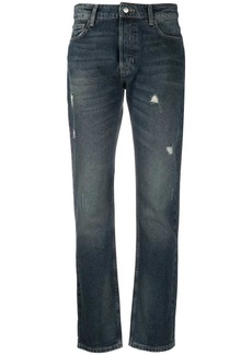 Armani distressed-effect straight-leg jeans
