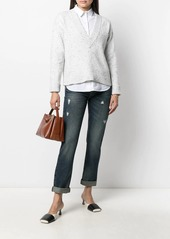Armani distressed-effect straight-leg jeans