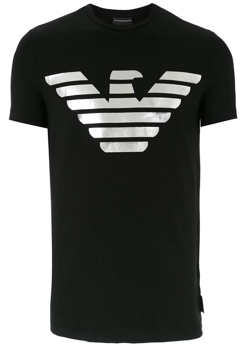 Armani distressed logo print T-shirt