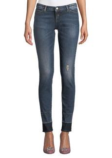 Armani Distressed Skinny Jeans w/ Contrast Hem