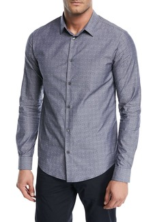 Armani Dot-Print Chambray Sport Shirt