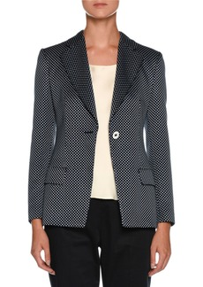 Armani Dotted One-Button Silk-Cotton Jacket
