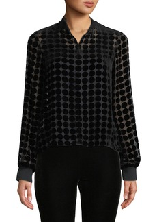 Armani Dotted Velvet Burnout Long-Sleeve Blouse