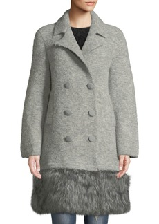 Armani Double-Breasted Faux-Fur Hem Coat