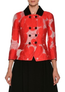 Armani Double-Breasted Floral-Jacquard Cotton-Silk Jacket