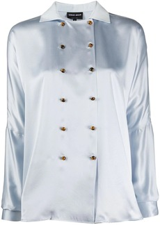 Armani double-breasted silk blouse
