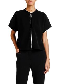 Armani Double Crepe Zip-Front Jacket