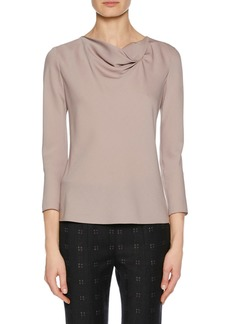 Armani Draped-Neck Long-Sleeve Silk Blouse  Pink