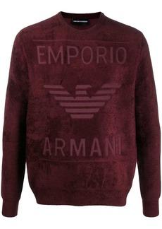 Armani embossed logo fleece sweatshirt