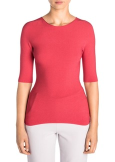 Armani Elbow Sleeve Ottoman Pullover Knit Top