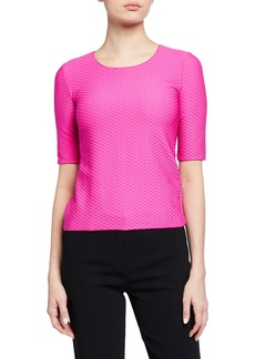 Armani Elbow-Sleeve Textured Jersey Top