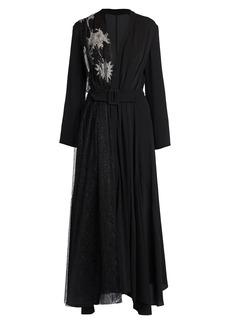 Armani Embellished Half-&-Half Belted Dress