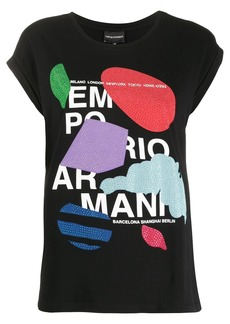 Armani embellished print T-shirt