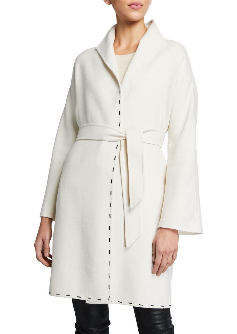 Armani Embellished Wool Wrap Coat