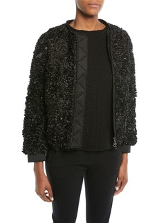 Armani Embellished Zip-Front Jacket w/ Detachable Faux-Fur Trimmed Hood
