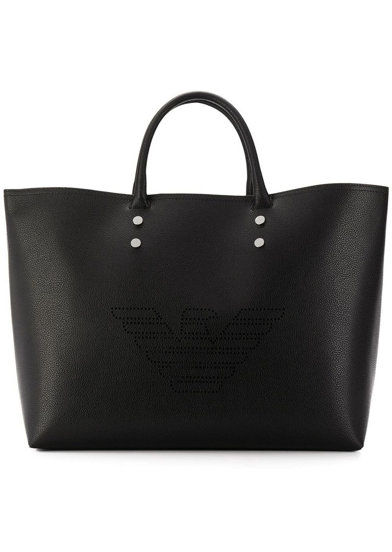 Armani embossed logo shopper tote