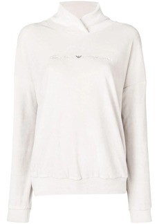 Armani embroidered jersey hoodie
