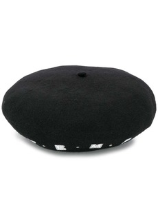 Armani embroidered logo beret