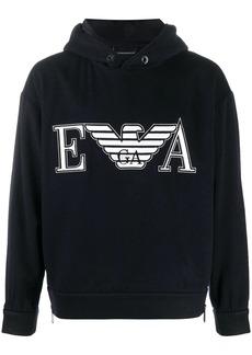Armani embroidered logo hoodie