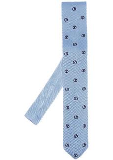 Armani embroidered-logo silk tie