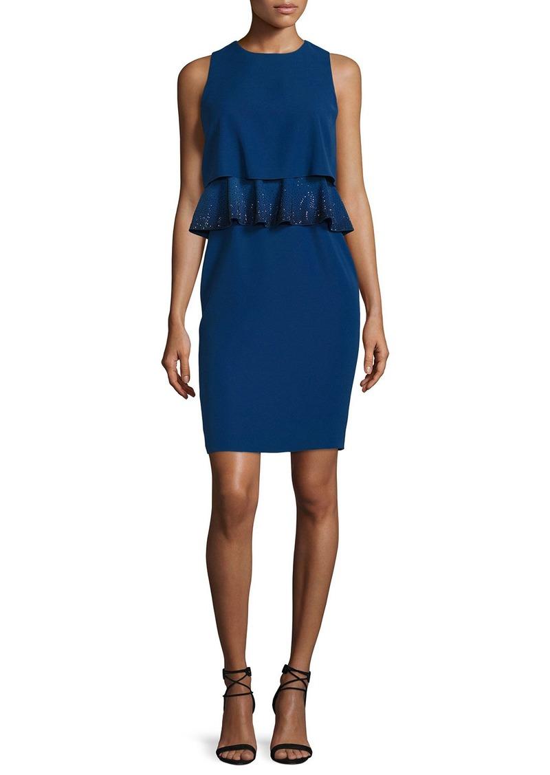 Armani Embroidered-Peplum Popover Dress  Royal Blue