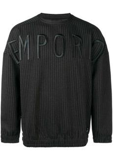 Armani embroidered pinstriped sweatshirt