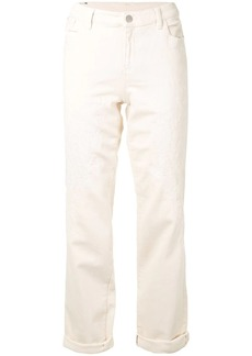 Armani embroidered straight leg jeans