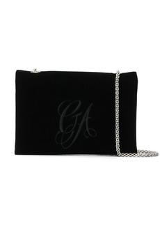 Armani embroidered velvet chain bag