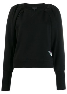 Armani holographic-effect logo print jumper