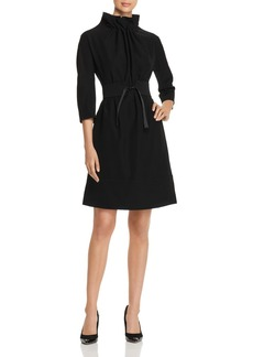 Emporio Armani Belted Funnel Neck A-Line Dress