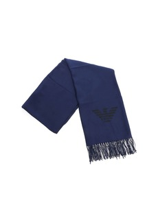 Emporio Armani Black And Blue Logo Scarf