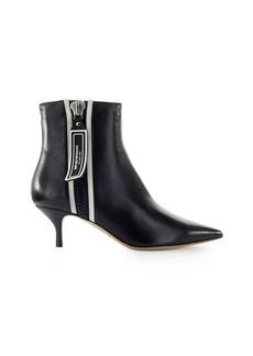 Emporio Armani Black Nappa Leather White Logo Ankle Boot