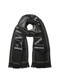 Emporio Armani Black Woven Signature Wool Blend Mens Scarf