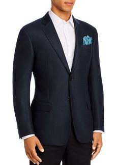 Emporio Armani Blue Textured Regular Fit Blazer