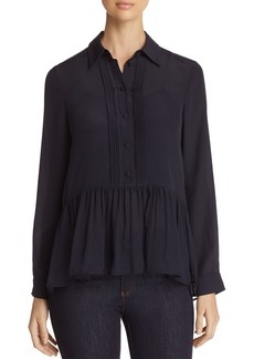 Emporio Armani Button-Down Silk Peplum Top