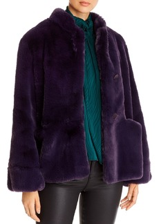 Emporio Armani Button-Front Faux-Fur Coat