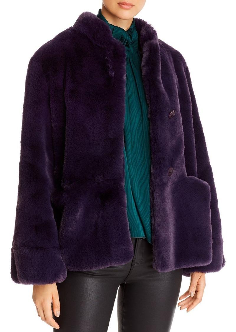 Emporio Armani Button-Front Faux-Fur Coat