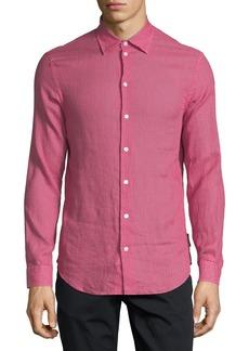 Armani Chevron-Print Linen Sport Shirt