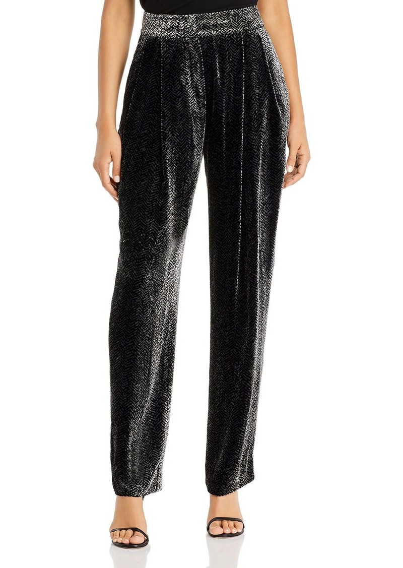 Emporio Armani Chevron Velvet Straight-Leg Pants