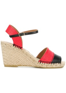 Emporio Armani colour block logo wedge sandals - Brown